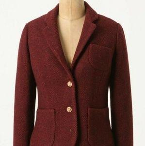ANTHROPOLOGIE Burgundy Tweed Jacket